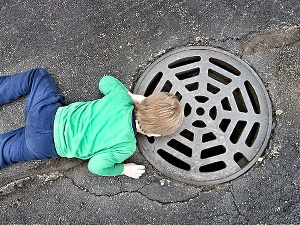 Child full of wonder HDR Color Photography Color Color Explosion Childhood Sewer Drain Sewercover Sewer Boy Child Childhood Memories Children's Portraits Kids Playing Children Photography Children Kids Colors Learn Having Fun EyeEm Best Shots Wonder Havingfun Explorer Exploring