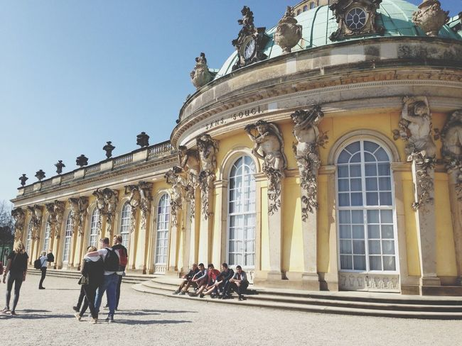 Summer Palace built by Frederick the Great on Potsdam. It has 11 rooms and only one Floor. It was built This way so Frederick could always look out the window and see his beautiful garden. Germany Potsdam Sansoucci Palace