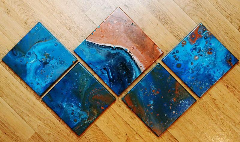 Blue Rust Series Copper  Rust AdaptiveArts Acrylic Painting Abstractart Acrylicpainting  FluidArt Fluidartwork DirtyPour Etsy Art Etsyseller Artist Handmade EyeEm Selects Wood - Material Close-up Full Frame Multi Colored