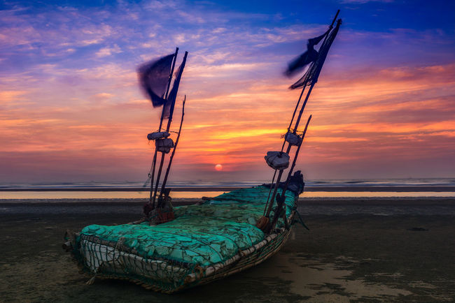 Sunset in Cox's Bazar Bangladesh Bangladesh Beach Beauty In Nature Cox's Bazar Horizon Over Water Inani Nature Nautical Vessel No People Outdoors Scenics Sea Sky Sunset Sunset #sun #clouds #skylovers #sky #nature #beautifulinnature #naturalbeauty #photography #landscape Sunset And Clouds  Sunset_collection Tranquil Scene Transportation Water