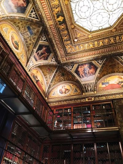 Library Gilded Age Architecture Ceiling Indoors  Fresco Built Structure Low Angle View Travel Destinations