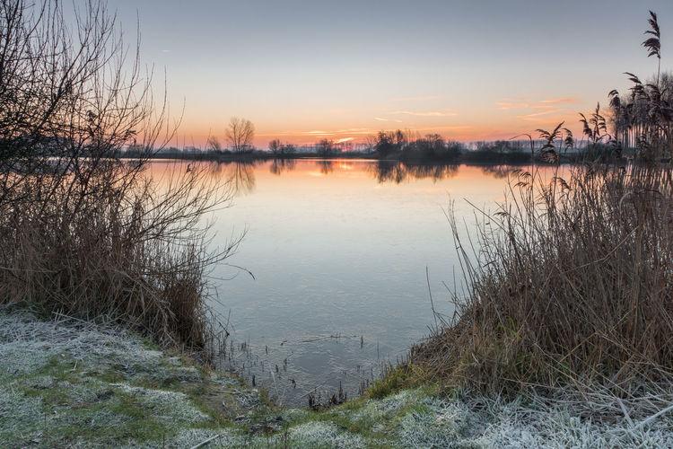 Sunrise at Boerekreek, Sint-Jan-in-Eremo, Belgium EyeEm Market © Sunrise Creek Tranquility Landscape Sony A77ii Belgium Reflection Reflection Tranquil Scene Winter Frost