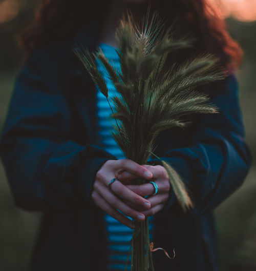 Midsection of woman holding reed during sunset