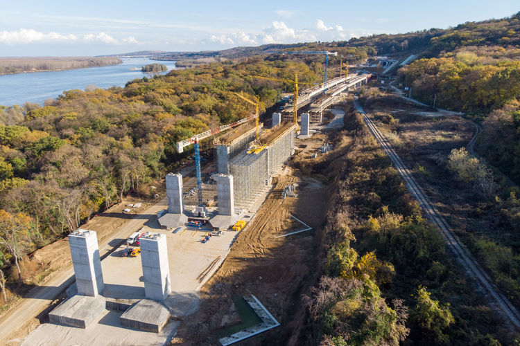 High angle view of bridge over road
