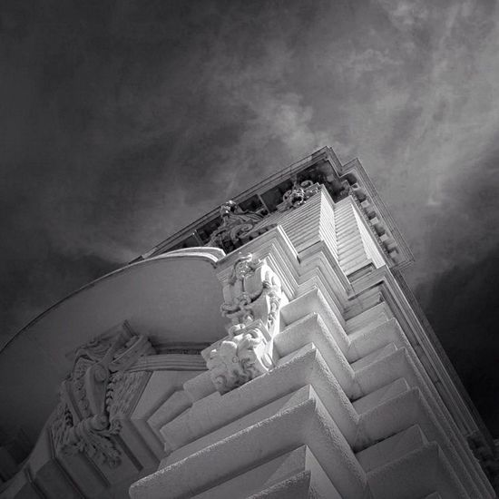 Temple of science, temple of the seas Building Blancoynero Canon Sculpture Bw Monaco Photooftheday Picoftheday Noiretblanc Architecture Monument Streetphotography Summer TBT  City Igers Blackandwhite Bw_lovers Sky Tweegram Love Instagood Museum