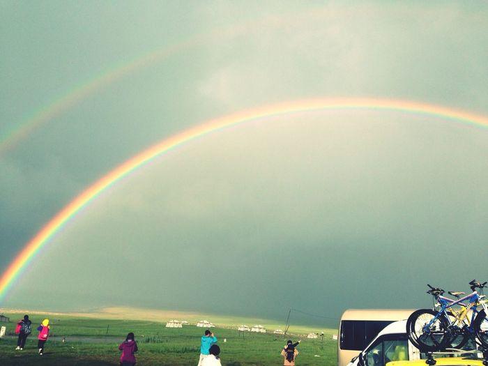 好不容易见到的双彩虹~ Trip Rainbow
