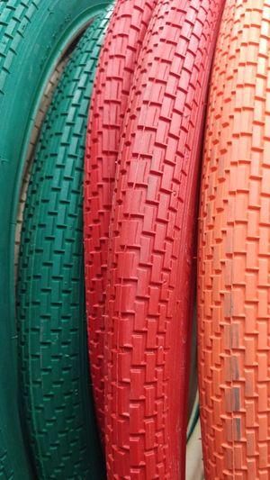 Full frame shot of colorful tires