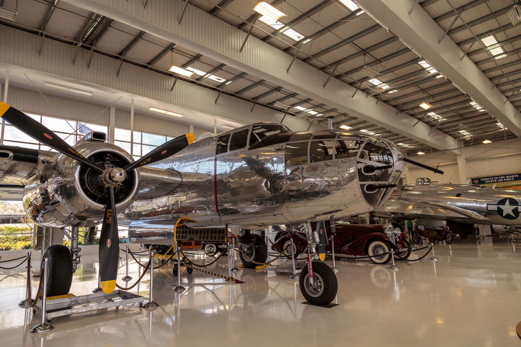 Santa Ana, CA, USA - January 21, 2017: North American B-25 bomber called Mitchell displayed at the Lyon Air Museum in Santa Ana, California, United States. It was used during World War II. Editorial use only. Airplane Airplane Hanger AirPlane ✈ B-25 Bomber B-25 Mitchell Lyon Air Museum Mitchell North American North American B-25 Plane Planes World War 2 World War II