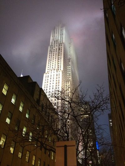 New York Rockfeller Center Brouillard Skyscrapers Manhattan Building États Unis