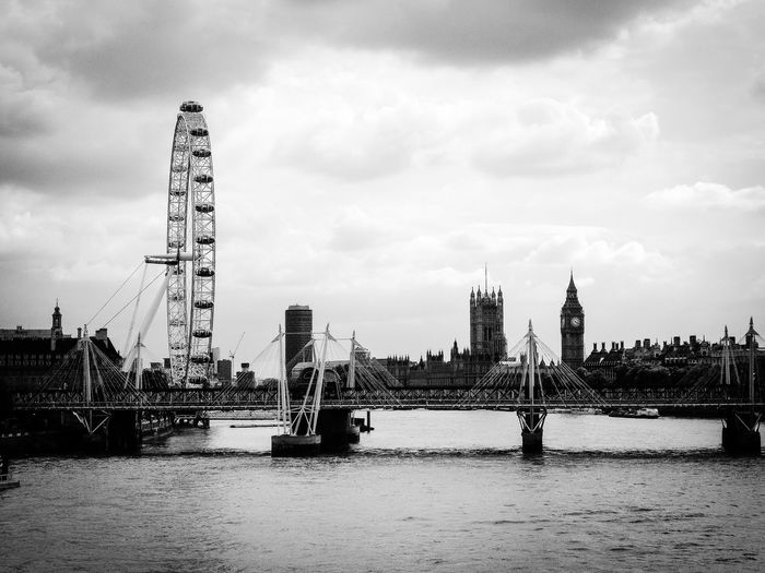 London eye by thames river against cloudy sky