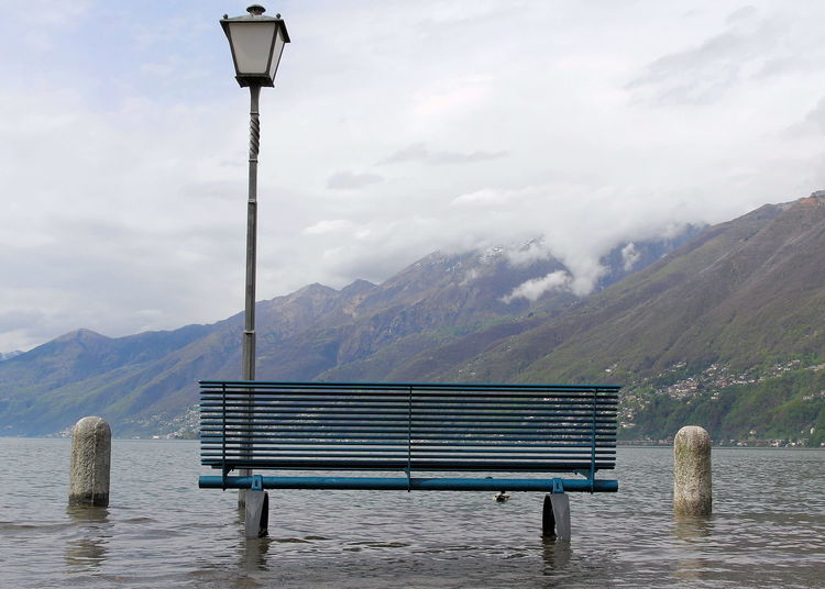 Ascona, Ticino, Switzerland Hochwasser Landschaft Beauty In Nature Day Nature No People Park Bench Unter Wasser