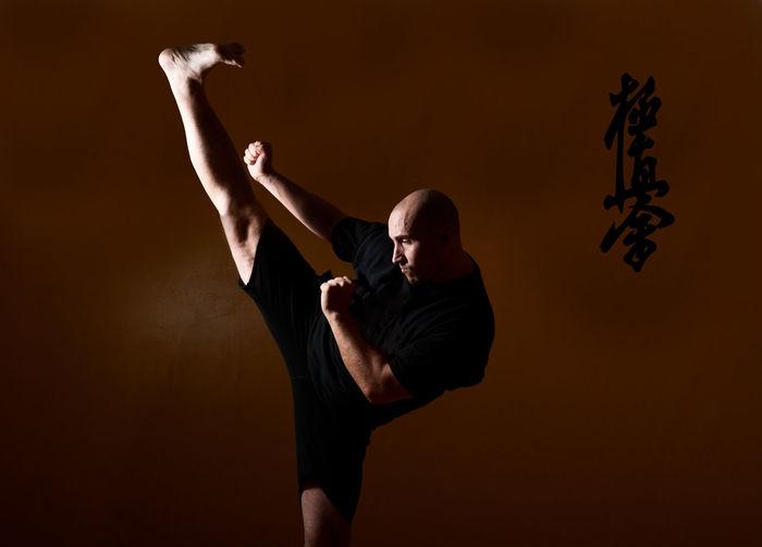 Man practicing martial arts