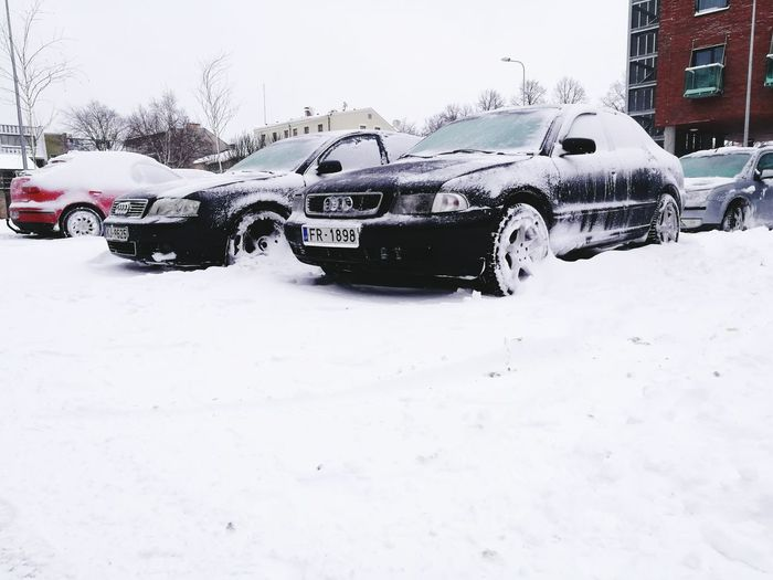 Car Winter Cold Temperature Snow City Outdoors Day Audi A4 Drift