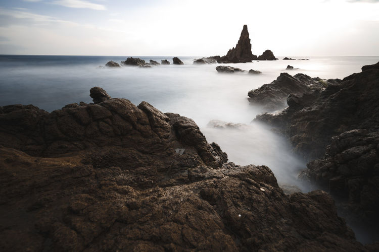 Sea Sky Water Beauty In Nature Scenics - Nature Land Nature Ocean Silky Water Sunset Formation Stack Rock Tranquility Long Exposure