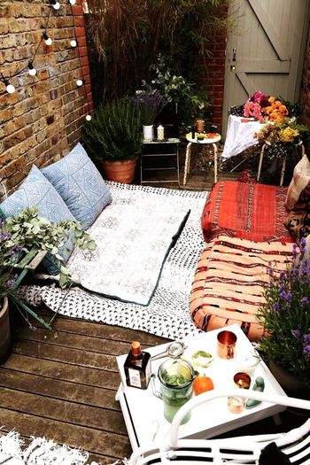 Chill afternoon Table Chair Food And Drink Day Front Or Back Yard High Angle View Patio Outdoors