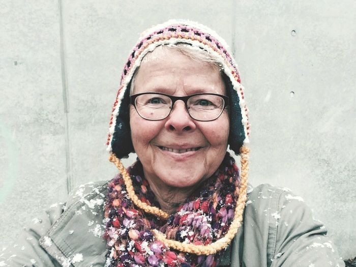 First snow of the year Real People Looking At Camera Portrait One Person Front View Eyeglasses  Headshot Smiling Happiness Lifestyles Day Outdoors People Adult Senior Adult Senior Women Snow Winter Cold Temperature