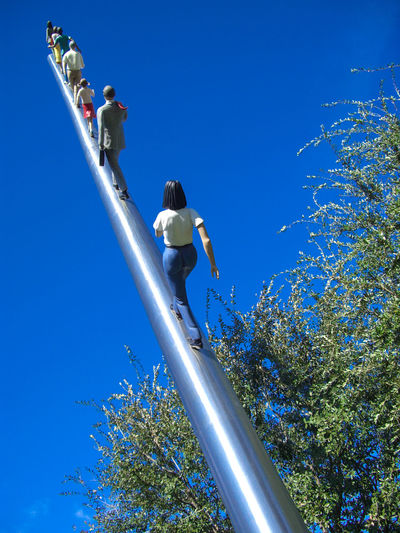 Ascending Blue Clear Sky Dallas Day Heaven Low Angle View Men Nasher Sculpture Center Outdoors People Sky Up Art Is Everywhere