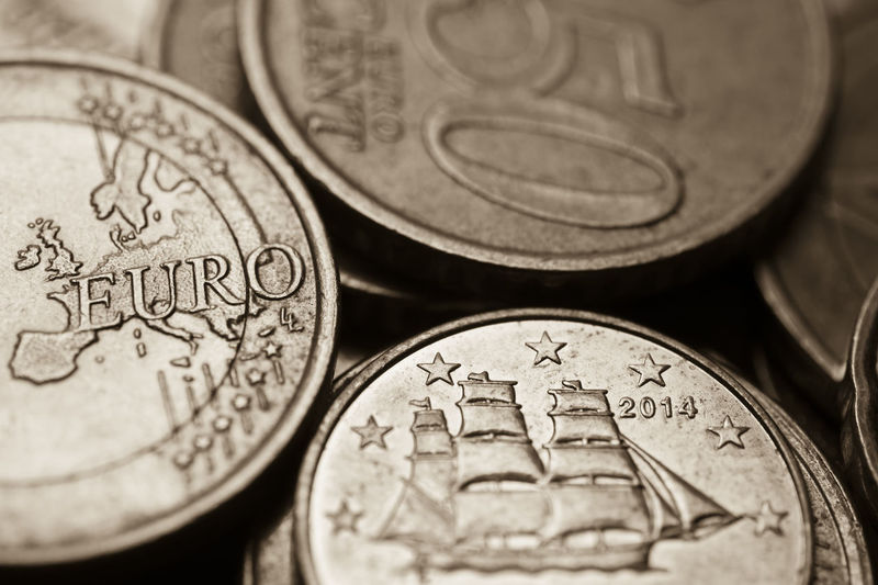 Close-up of european union coins
