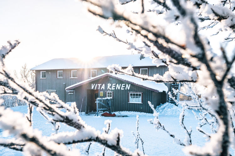 Vita Renen restaurant in the mountains Architecture Beauty In Nature Branch Building Exterior Built Structure Clear Sky Cold Temperature Day Frozen House Mountain Nature No People Outdoors Roof Scenics Sky Snow Snowdrift Sunlight Tree Weather Winter