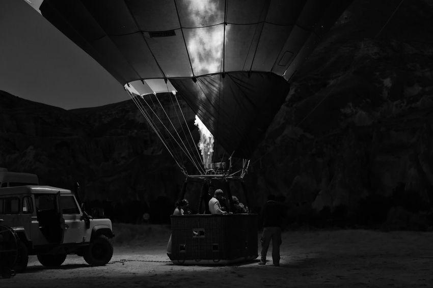 Hot Air Balloon Ride Balloon: Hot-air Balloon, Barrage Balloon; Airship, Dirigible, Zeppelin, Blimp; Weather Balloon Archeology Basket Cappadocia Hot Air Ballons Cappadocia/Turkey Flames & Fire Flight Floating Historical Sights Landscape Material Ride, Transportation, S Tourism Tourist Tourist Attraction
