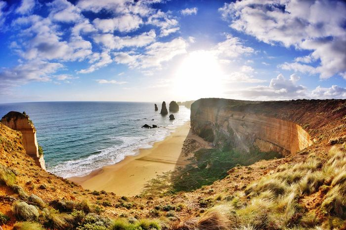 Twelve Apostles 12 Apostles Australia Finding New Frontiers Coastline Sea Beach Horizon Over Water Rock - Object Cliff Scenics Nature Travel Destinations Outdoors Beauty In Nature Vacations Landscape Idyllic Blue Orange Color National Geographic EyeEm Best Shots