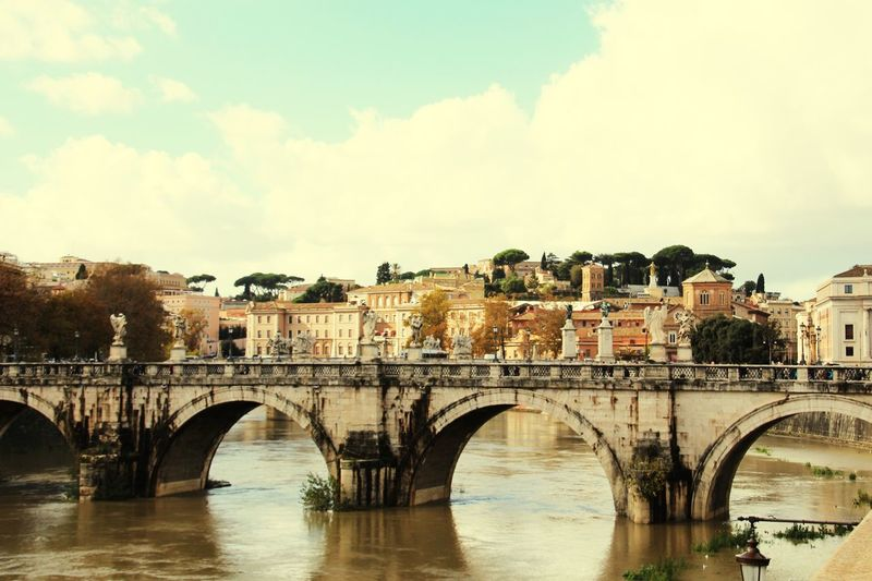Rome, Italy Rom Bridge - Man Made Structure Architecture Connection Arch Bridge Arch Built Structure Sky River Cloud - Sky Water Bridge Building Exterior Day City Outdoors No People An Eye For Travel