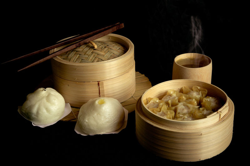 Dimsum Chinese Food Black Background Asian Food Food Backgrounds