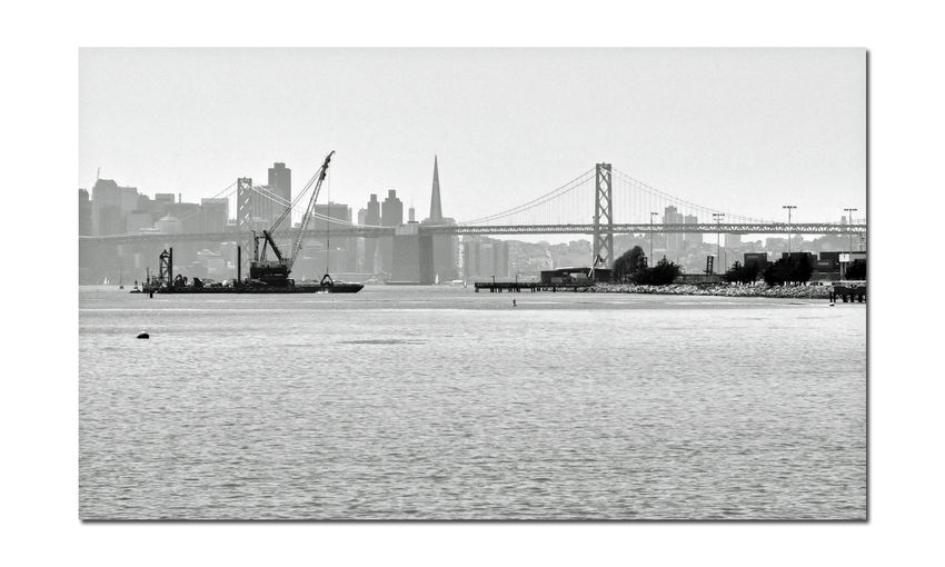 Dredging the Bay 7 Middle Harbor Port Of Oakland, Ca. San Francisco Skyline Bay Bridge San Francisco Bay Fishing Pier Transamerica Pyramid Building Ferry Building Coit Tower Port Containers Dredging Equipment Dredging Platform Sailboats Monochrome Black & White Black And White Photography Black And White Black And White Collection