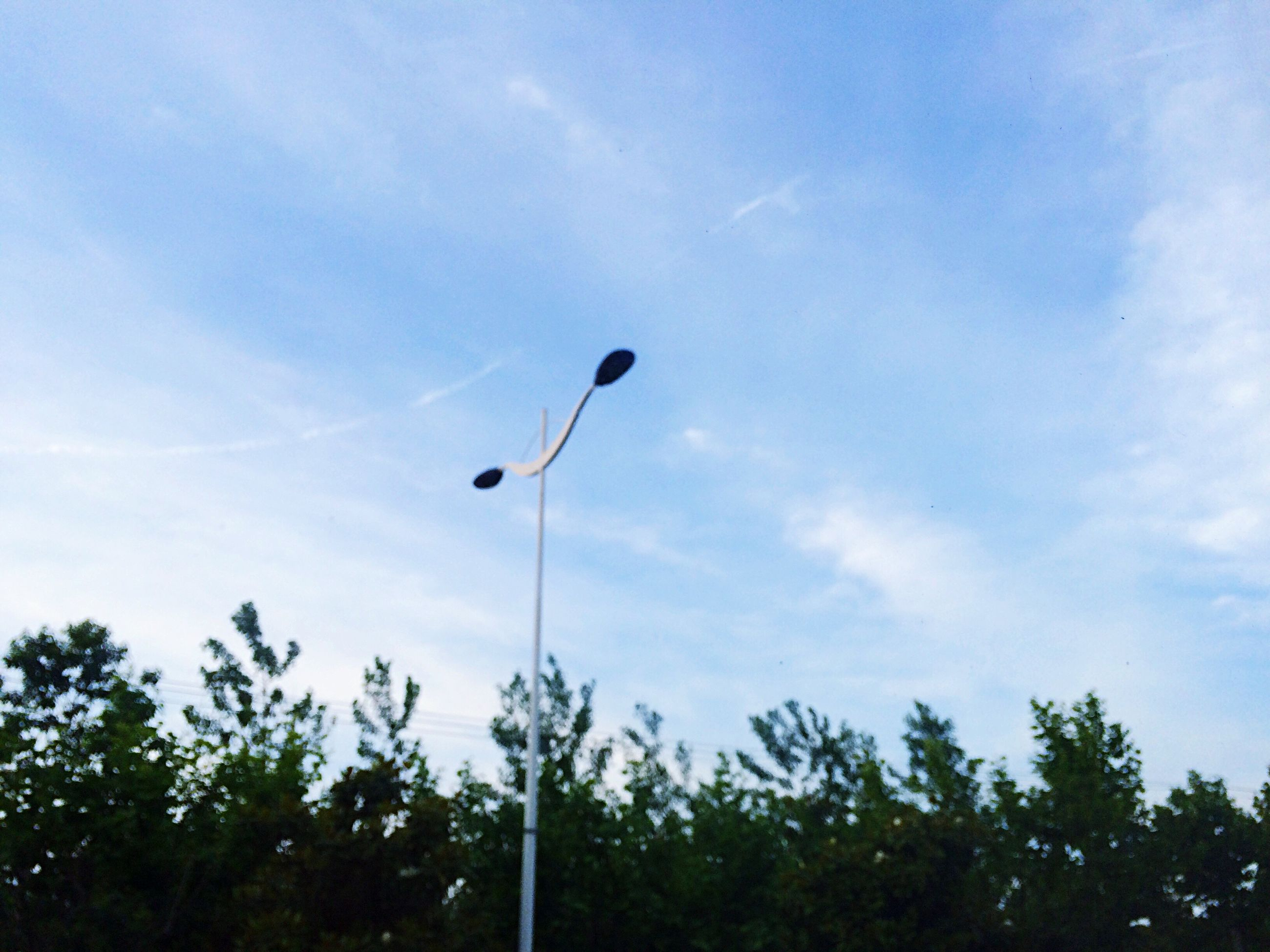 low angle view, sky, street light, tree, cloud - sky, cloud, blue, growth, nature, cloudy, tranquility, lighting equipment, beauty in nature, silhouette, outdoors, day, no people, scenics, pole, tranquil scene