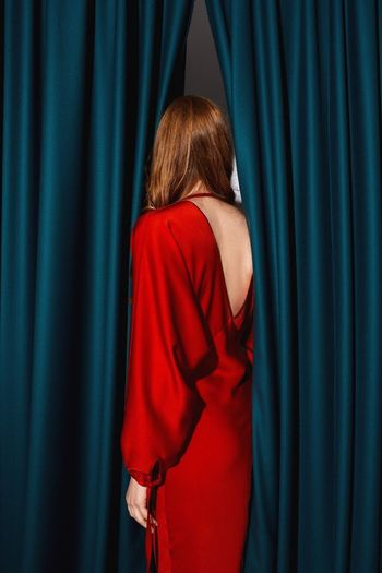 New Year Capsule Collection by Skuratova Atelier Woman Portrait Close-up Studio Lighting Studio Lights Beautiful Woman EyeEm Best Shots EyeEm Gallery EyeEmNewHere EyeEm Selects Curtain One Person Rear View Blue Red Indoors  Women Stage - Performance Space Real People