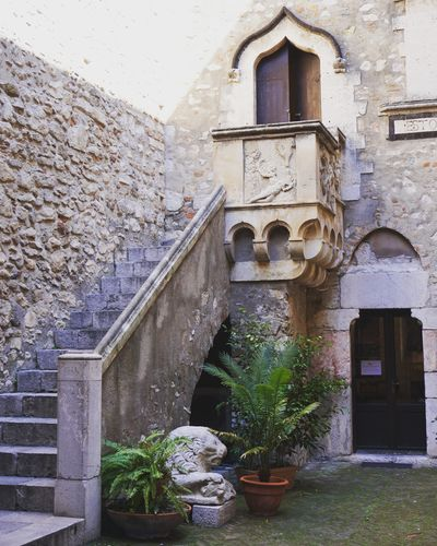 Taormina Sicily Architecture Built Structure Plant Travel Destinations Architecture Building Exterior Staircase Stairs Balcony Juliet Balcony