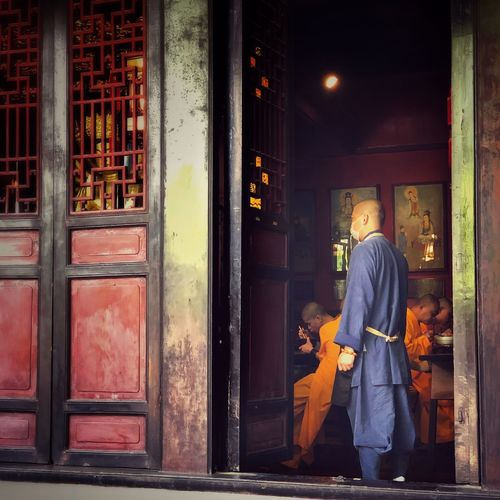 Lunch time at the Manjushri Monastery Red Door Monks Chinese Architecture Monastery Adult Real People Men Standing Architecture Built Structure Adventures In The City
