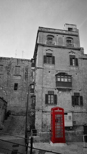Red Outdoors Stop Sign Building Exterior City No People Architecture Day Sky Cardphone Telephone Box Malta Valetta,Malta Old Town Stairs Street Black And White