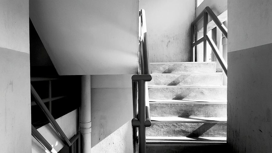 Indoors  No People Staircase Architecture Day Path Shadow Shadows & Lights Light Light And Shadow Steps Steps And Staircases Blackandwhite Black And White Black And White Photography Monochrome Two Ways 2 Ways Abstract The City Light
