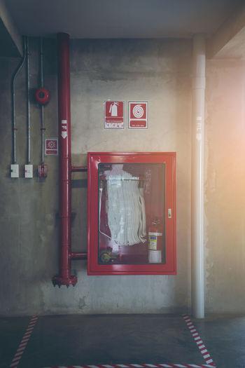 Red text on door of building