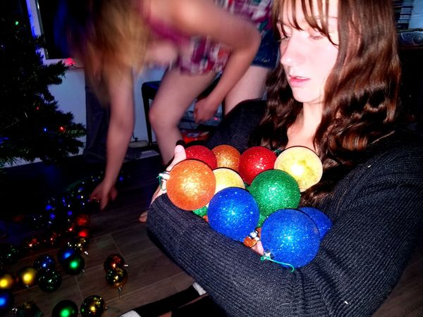 Celebration Multi Colored Young Adult Party - Social Event Fun People Young Women Friendship Holiday - Event Tradition Christmas Tree Christmas Decoration Christmas Christmas Ornament Family Girls Balls Washington Terrace Utah