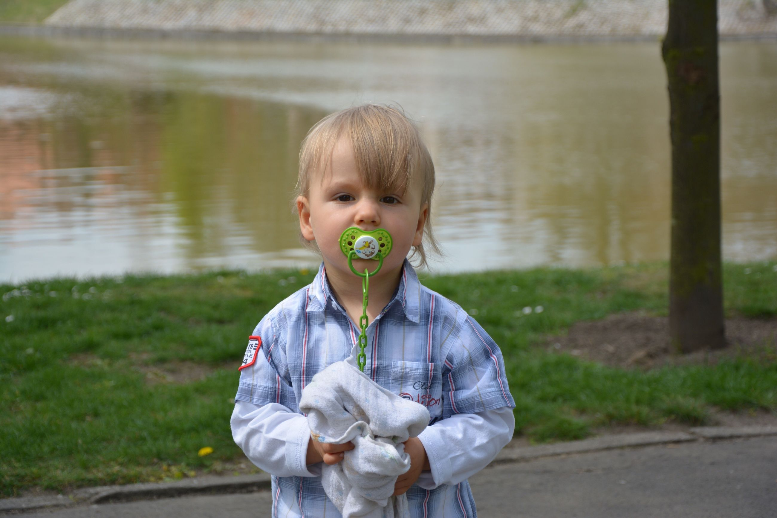 water, childhood, reflection, lake, child, one person, nature, grass, outdoors, day, baby, people