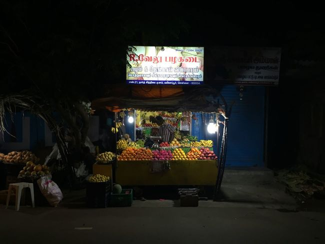 Large Group Of Objects Variation Night Market Stall Illuminated Fruits Multi Colored Street Vendor