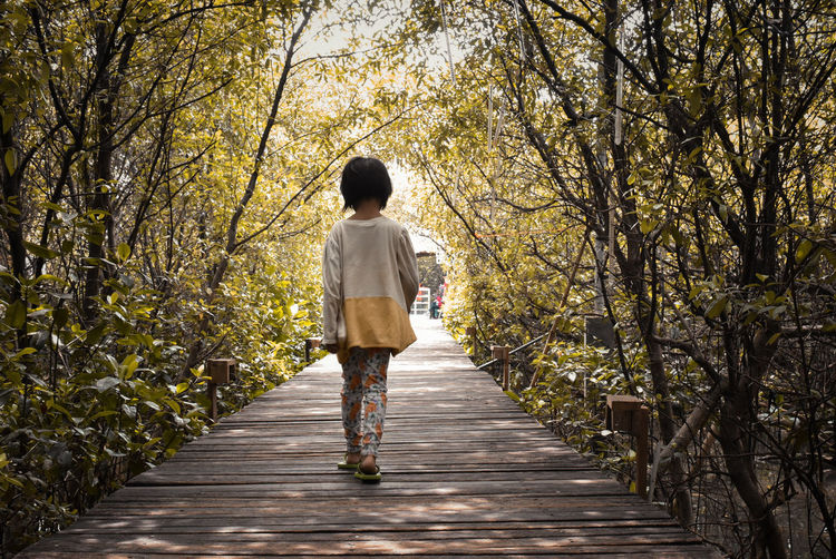Rear View Tree Full Length One Person Walking Plant Footpath Direction Casual Clothing Nature The Way Forward on the move Young Adult Day Adult Outdoors Women Clothing Motion Hairstyle