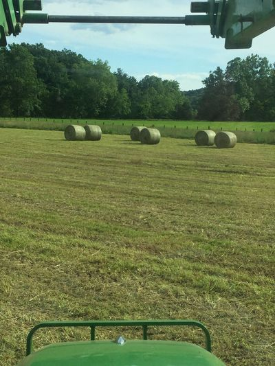 Just got done bailing hay in the Tractor! Hay Hay Bails Green Grass Drying Ready To Dry Outdoors On The Farm Country In The Country Sweating Hot