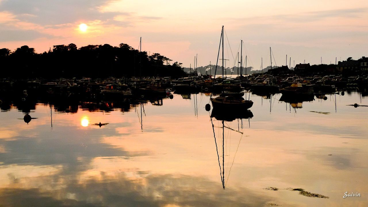 reflection, water, sunset, nautical vessel, mast, sky, orange color, moored, cloud - sky, sailboat, mode of transport, scenics, no people, nature, waterfront, lake, transportation, outdoors, beauty in nature, yacht, day