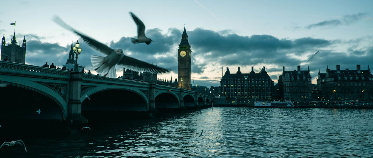 Architecture Bridge - Man Made Structure Building Exterior Built Structure Cinematic Look Cinematic Photography Cinematic Shots Cinematic Street Cinematography City Clock Clock Tower Cloud - Sky Cultures Day Government London No People Outdoors Politics And Government River Sky Travel Travel Destinations Water