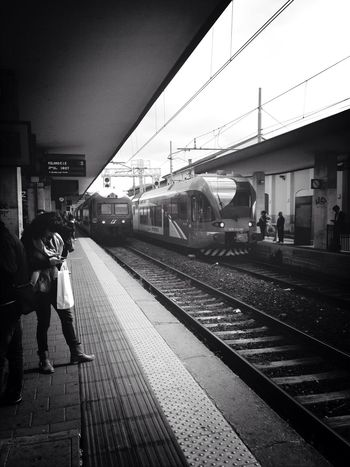 Blackandwhite Blackandwhite Photography Monochrome Train Station Train Tracks Train People Peoplephotography Streetphoto_bw Italy