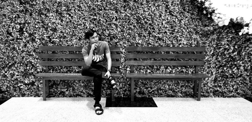 thinking of you Airportphotography Black & White People Photography Full Length Sitting Bench Park Bench Wooden Board Empty Pixelated EyeEmNewHere My Best Photo
