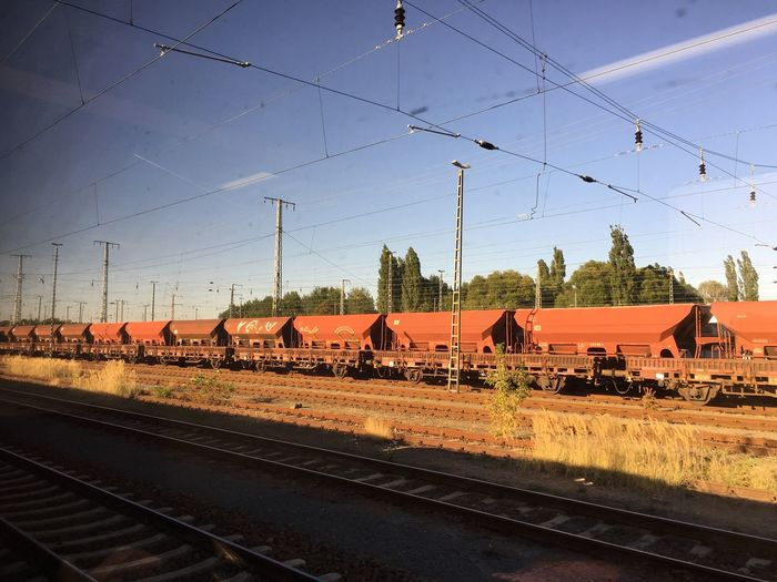 Industrial freight container on track