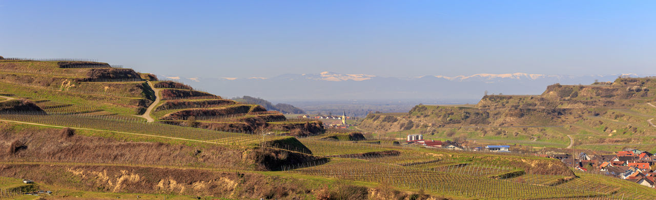 Panoramic view of landscape and buildings against sky