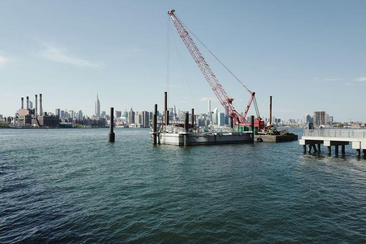 North Williamsburg Pier, August 2016 Crane - Construction Machinery Waterfront Cloud Water City Sky Blue Pier Williamsburg Brooklyn NYC Skyline Manhattan Skyline Leicaq