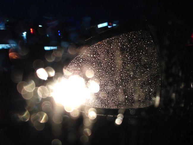 Night Glowing Night Travel PhonePhotography Travel Galaxy Reflection Light Car Mirror Car Glass Waterdrops Rain