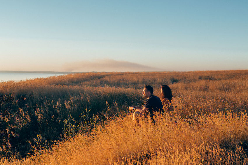 A joke Boy And Girl Couple Couple - Relationship EyeEm Nature Lover EyeEmNewHere Field Fields Of Gold Friends Friendship Leisure Activity Nature Nature Lover Nature_collection Seaside Season  Summer Sun Sunlight Sunset Sunset_collection Wheat Young Adult Young Couple Youth Youth Of Today