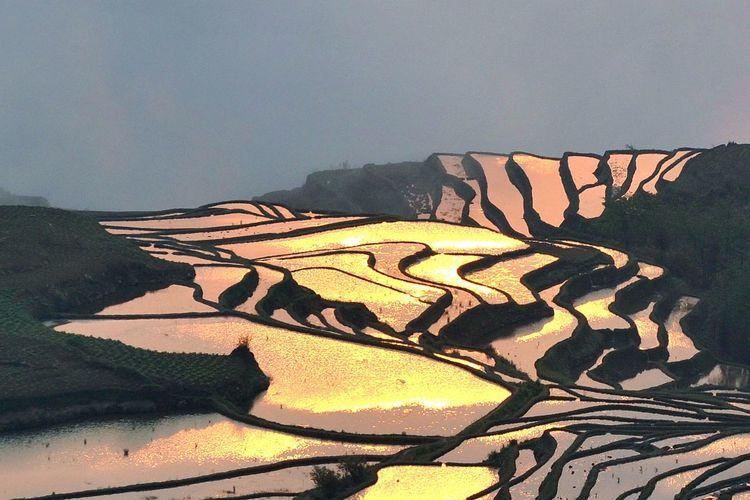 yuanyang terrace Desert Mountain Arid Climate Sand Dune Pattern Sky Landscape